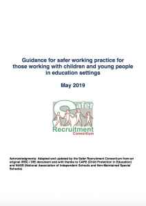 Guidance for safer working practice for those working with children in education settings